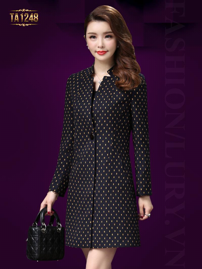 Áo khoác dạ HQ họa tiết chấm nhỏ thời trang TA1248 (Màu đen)