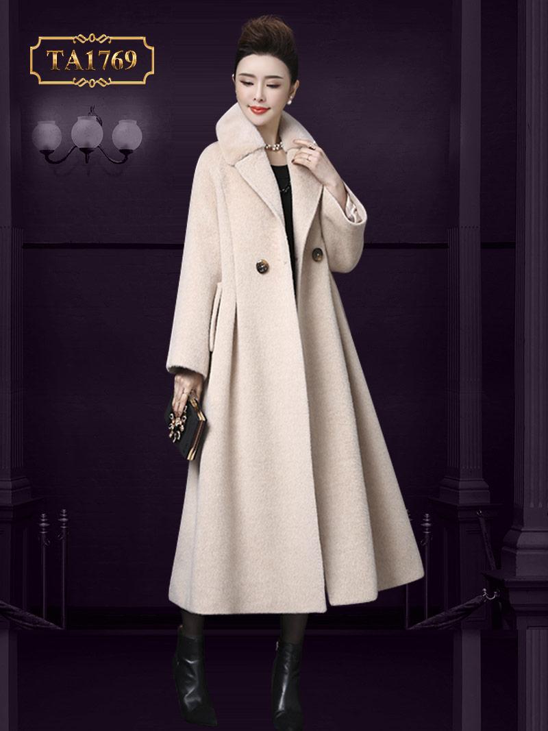 Áo dạ hàng hiệu cao cấp TA1769  cổ lông tự nhiên dáng dài thời trang mới 2019
