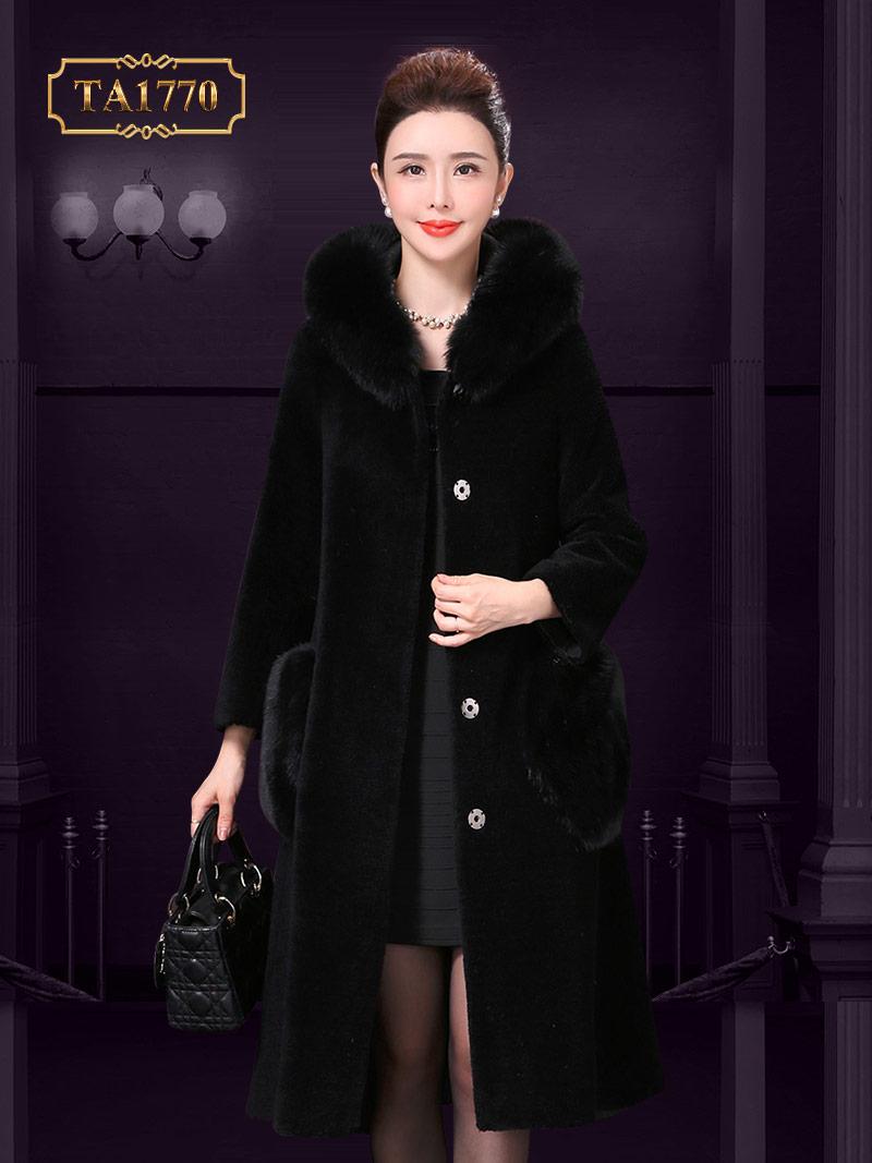 Áo khoác dạ nhung lông cừu cao cấp TA1770  dáng xòe chữ A mix túi lông sang trọng mới 2019