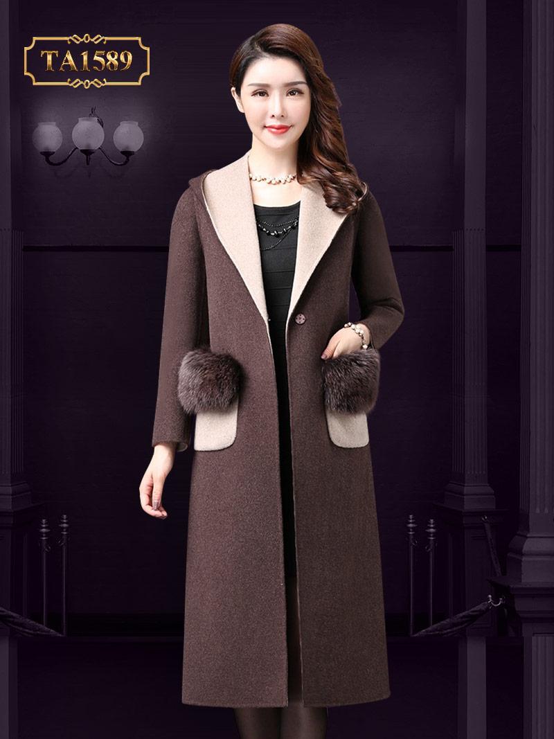 Áo dạ dáng dài TA1589 mới nhất 2017 đính kèm lông tự nhiên cao cấp