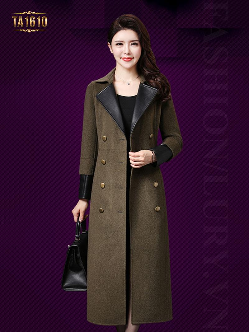 Áo khoác dạ TA1610 mới 2017 dáng dài cổ vest tay đáp đa