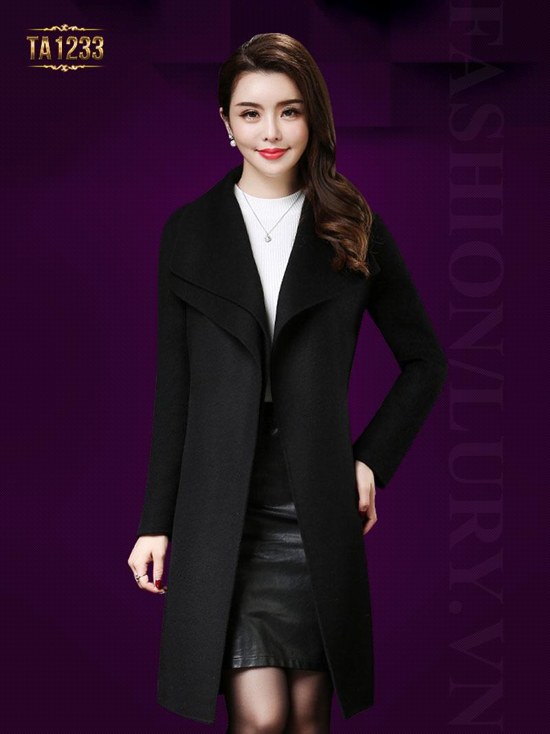 Áo khoác dạ cổ xếp lớp phối đai thời trang TA1233 (Màu đen)