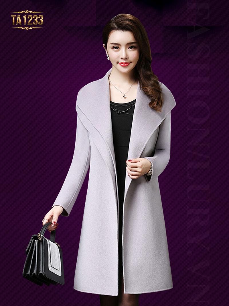 Áo khoác dạ cổ xếp lớp thời trang