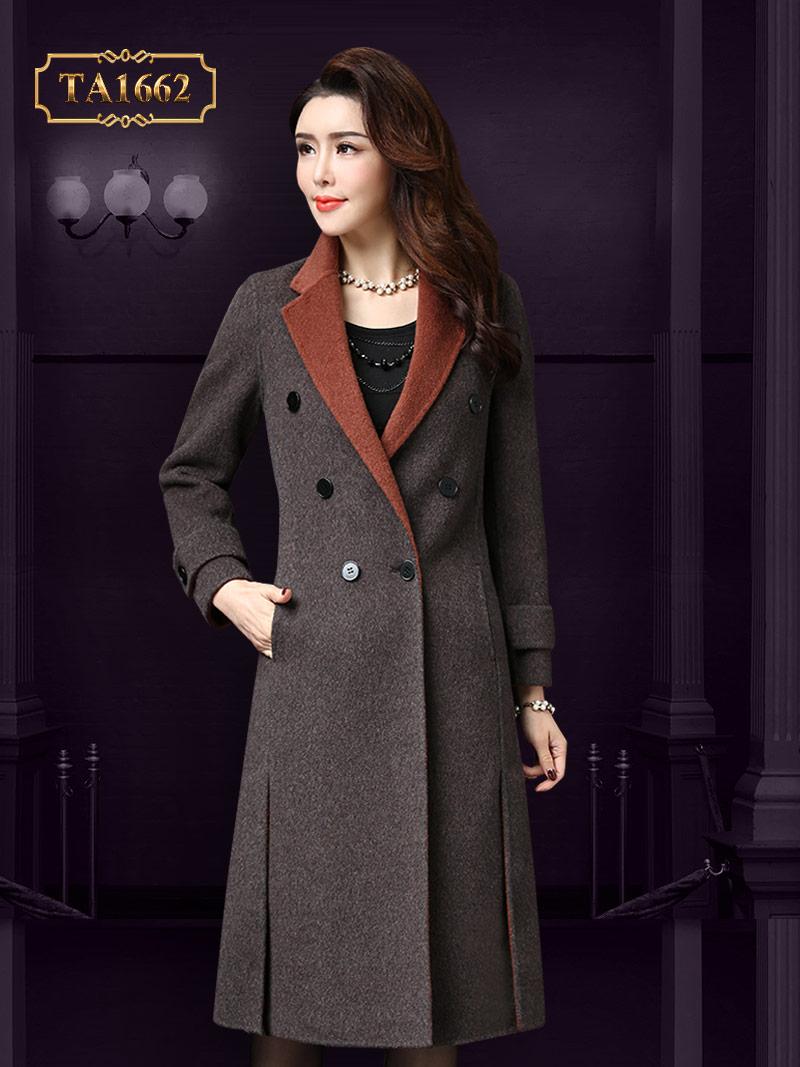 Áo khoá dạ TA1662 dáng dài cúc cổ phối màu thời trang sang trọng (Nâu cam)