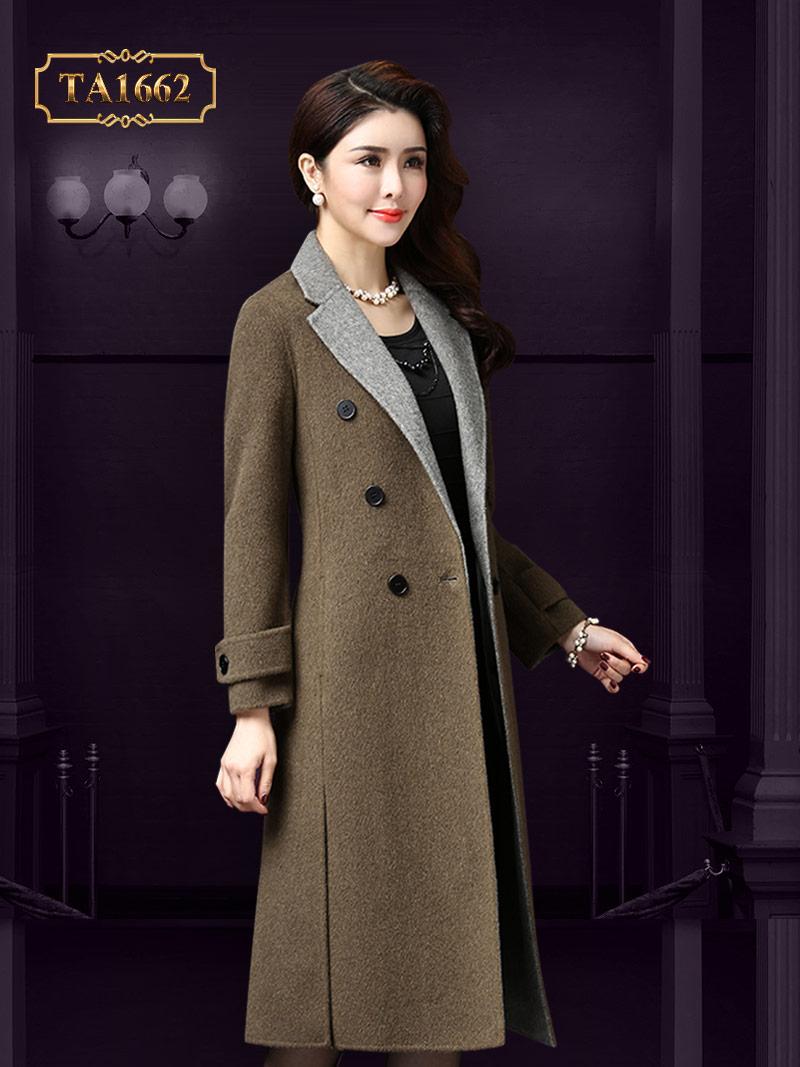 Áo khoá dạ TA1662 dáng dài cúc cổ phối màu thời trang sang trọng (Xanh xám)