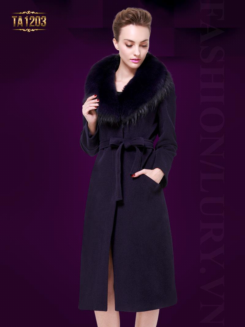 Áo khoác dáng dài cổ lông Hàn Quốc cao cấp hàng hiệu