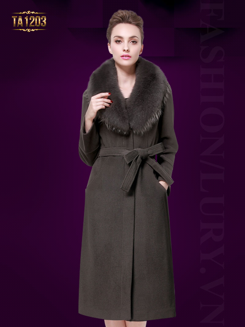 Áo khoác dáng dài cổ lông Hàn Quốc cao cấp TA1203 (Màu xám)