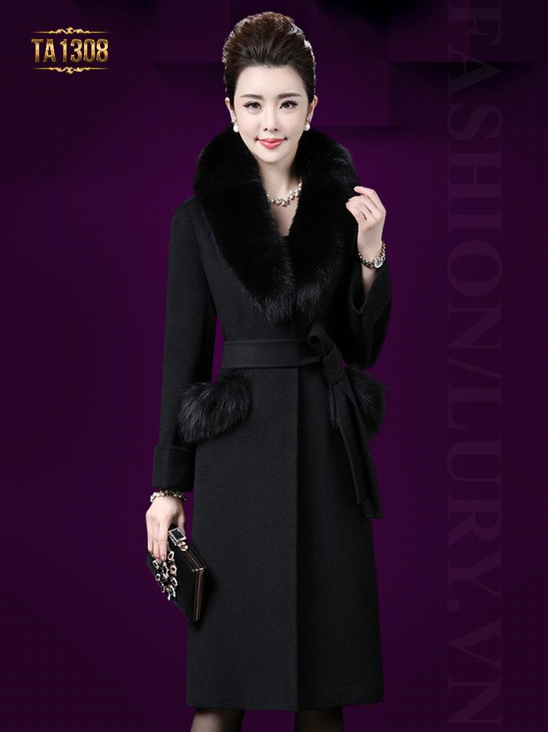 Áo khoác dạ dài túi lông thời trang TA1308 (Màu đen)