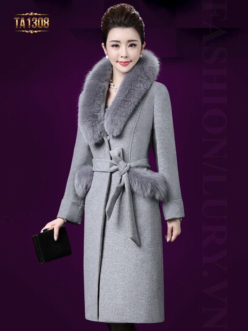 Áo khoác dạ dài túi lông thời trang TA1308 (Màu xám)
