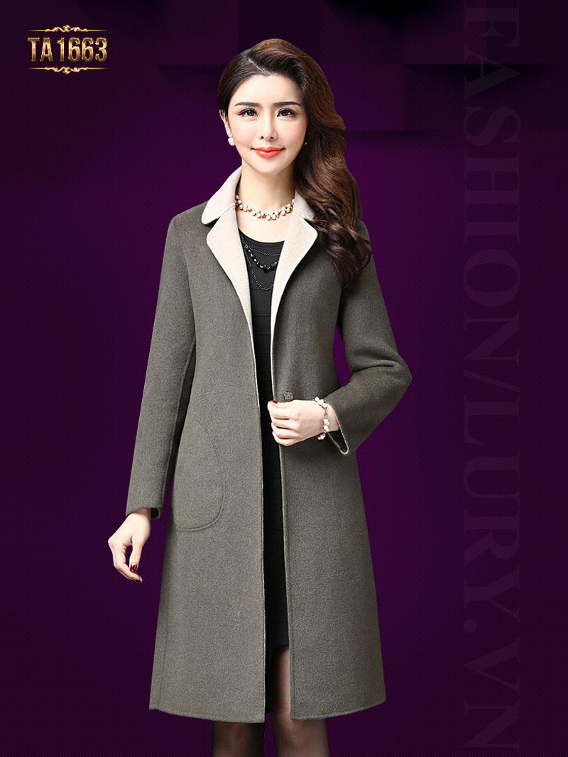 Áo khoác dạ dài TA1663 mới 2017 cổ phối màu kèm đai nơ (Màu xám)