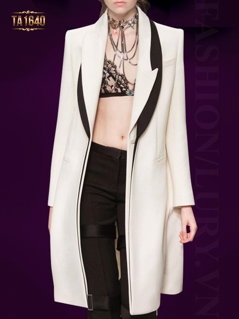 Áo khoác dạ dài mới  2017  cổ xếp lớp TA1640 thời trang màu trắng thời thượng