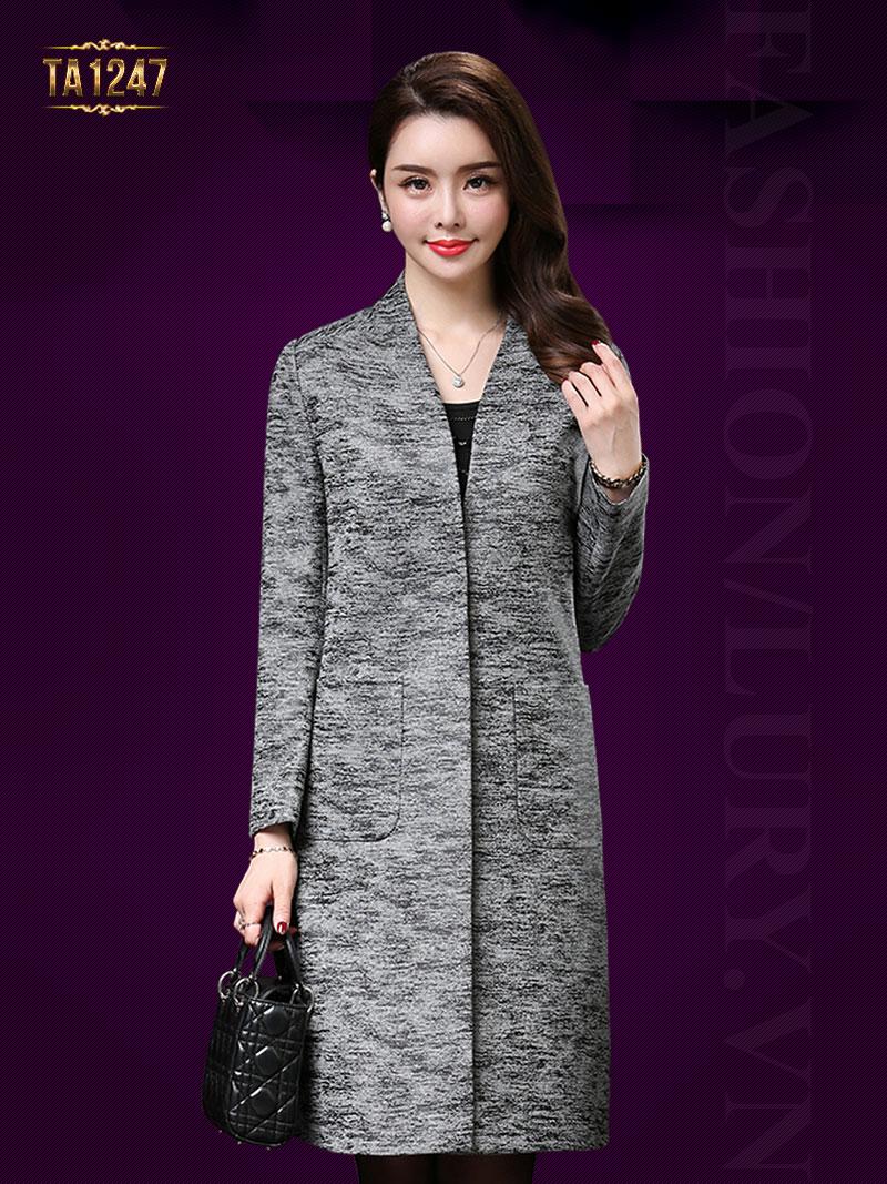 Áo dạ trung niên dáng dài thiết kế túi vuông thời trang, sang trọng TA1247
