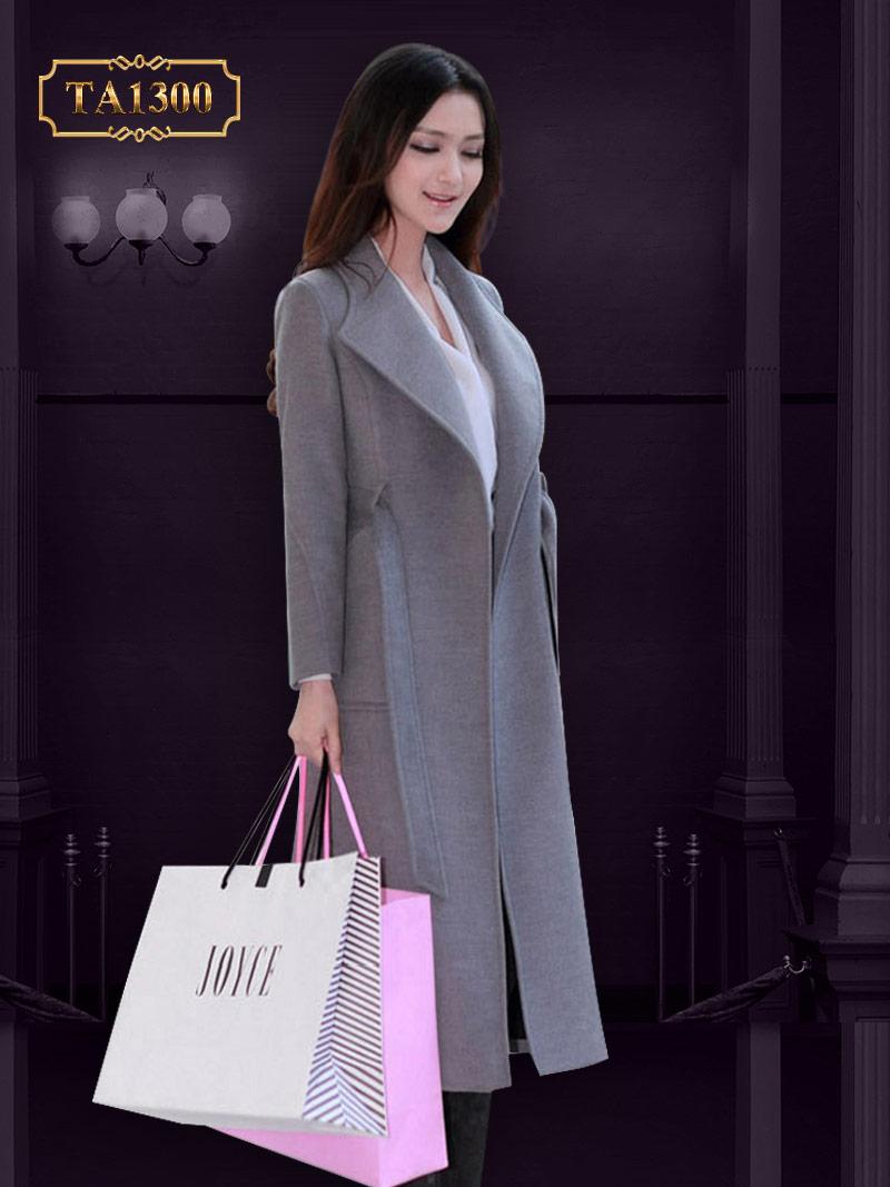 Áo khoác dạ dài túi chéo kèm đai thời trang TA1300 (Màu ghi)