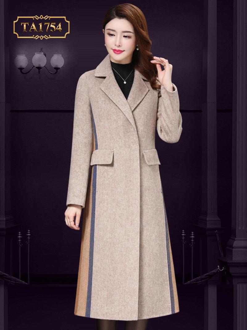 Áo dạ dài cho nữ  TA1754  túi nắp phối sọc màu thời thượng mới nhất 2019