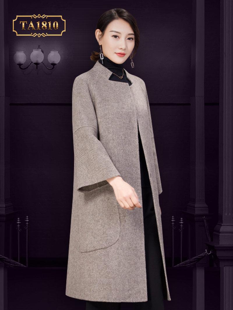 Áo khoác dạ dáng dài TA1810  xương cá cổ Đức thời trang