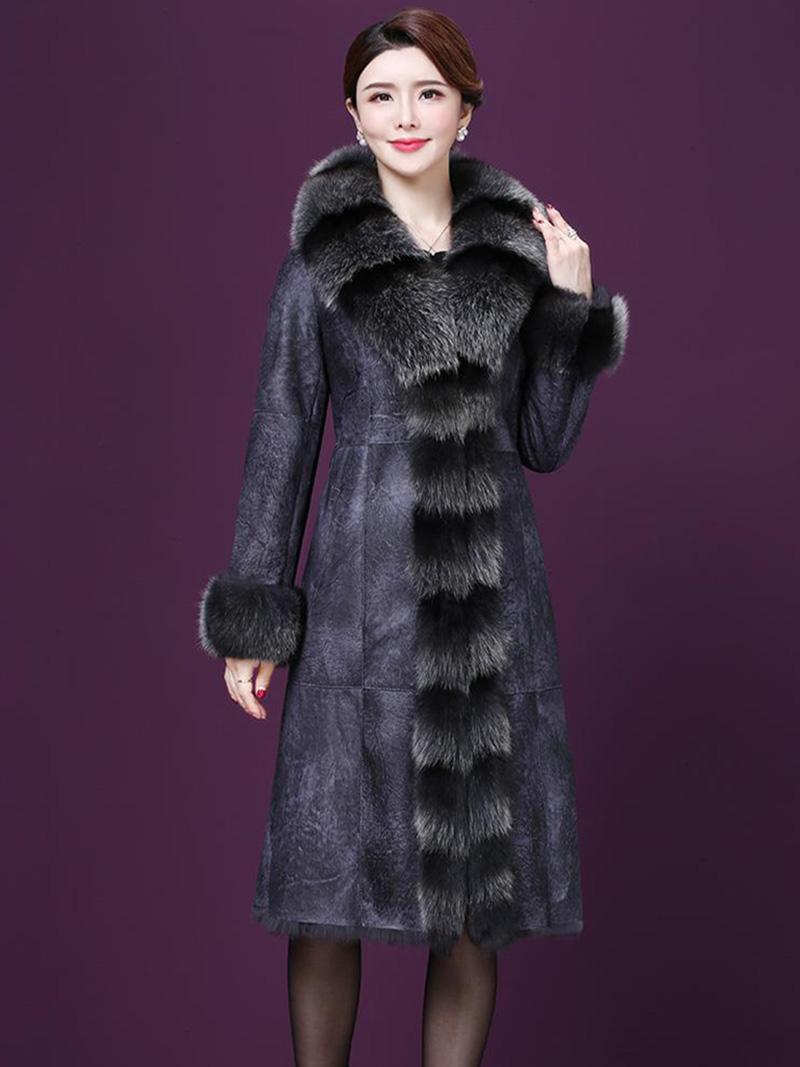 Áo khoác da dáng dài cao cấp phối lông thời trang A4