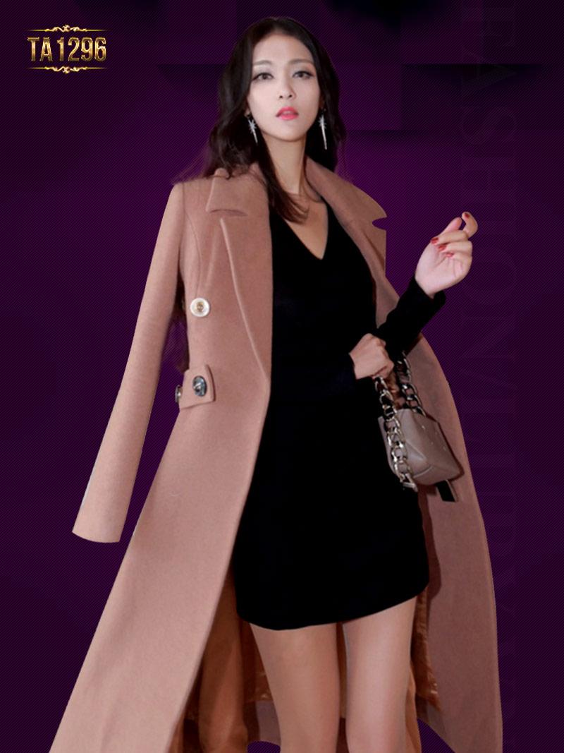Áo khoác dạ Hàn Quốc dáng dài đai eo sau thời trang TA1296