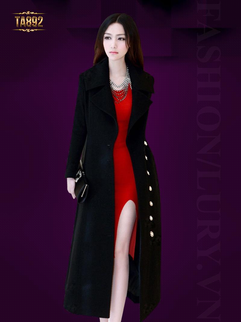 Áo khoác dạ dáng váy cao cấp khuy ngọc trai sang trọng TA892