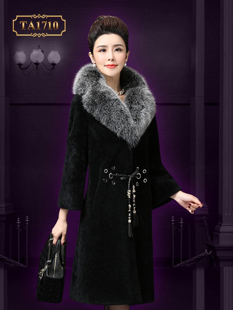 Áo khoác nhung TA1710 mới 2017 phối lông kèm dây đai tết