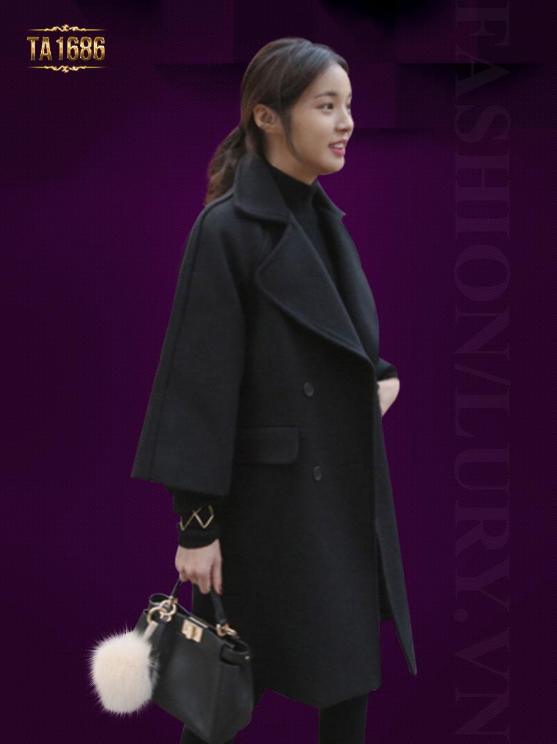 Áo khoác dạ dài  TA1686 mới 2017 kiểu oversize màu đen