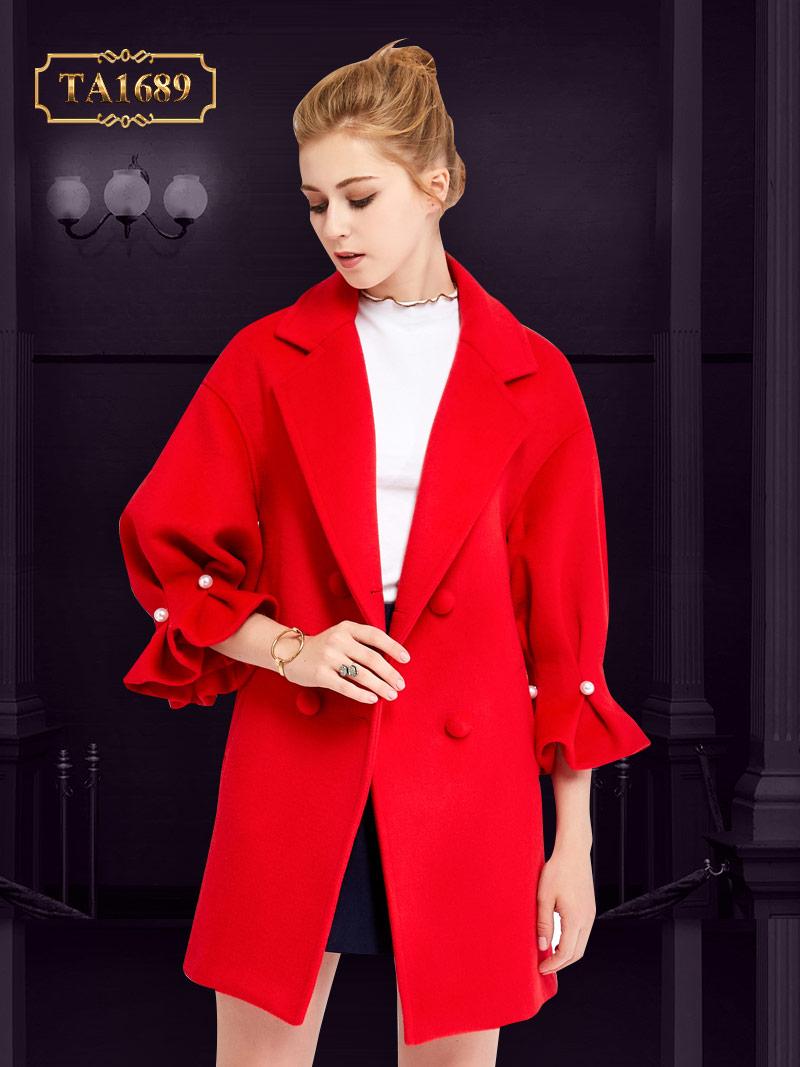 Áo khoác dạ dài TA1689 mới 2017 kiểu tay lỡ đính ngọc trai