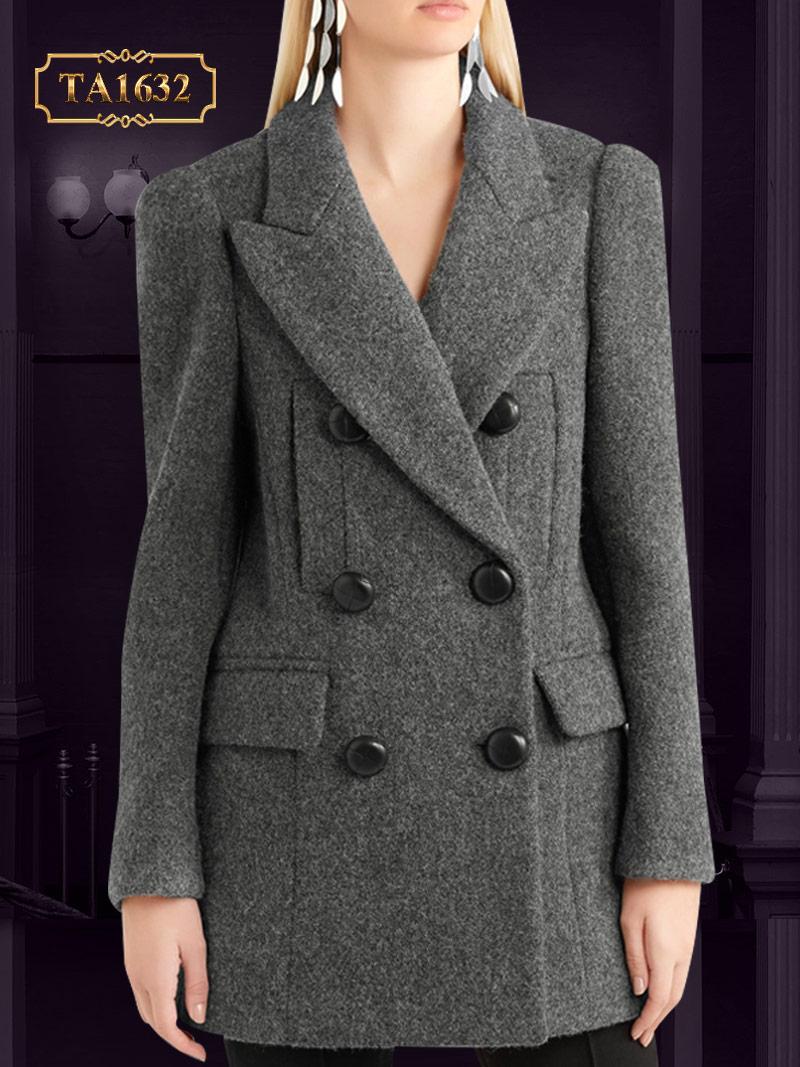 Áo khoác dạ dáng ngắn đính 6 cúc đai to bản thời trang TA1632