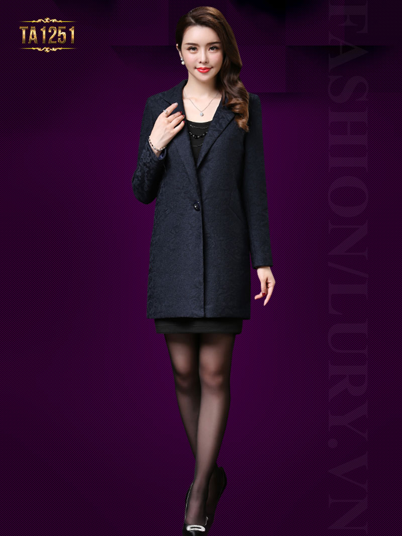Áo khoác dạ hoa ren trơn cổ vest cao cấp TA1251 (Xanh than)