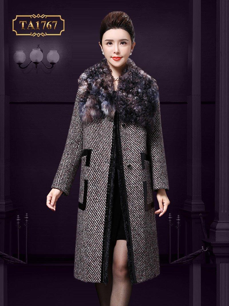 Áo dạ nữ cao cấp TA1767  cổ lông thú viền da cao cấp mới 2019