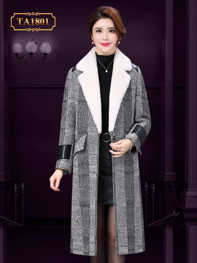 Áo khoác dạ hàn quốc TA1801 họa tiết thời trang phối da cao cấp mới nhất 2019