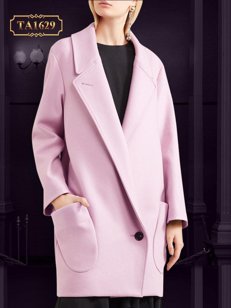 Áo khoác dạ hồng 2 túi chéo thời trang TA1629  phiên bản mới nhất 2017