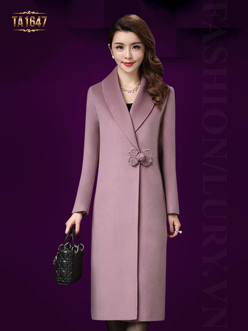 Áo khoác dạ mới 2017 cúc hoa lệch màu hồng TA1647