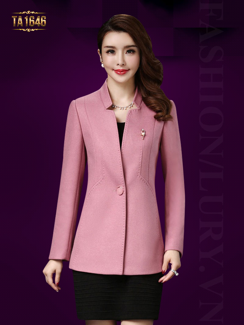 Áo khoác dạ hồng ngắn mới 2017 TA1646 cổ tàu 1 cúc thời trang