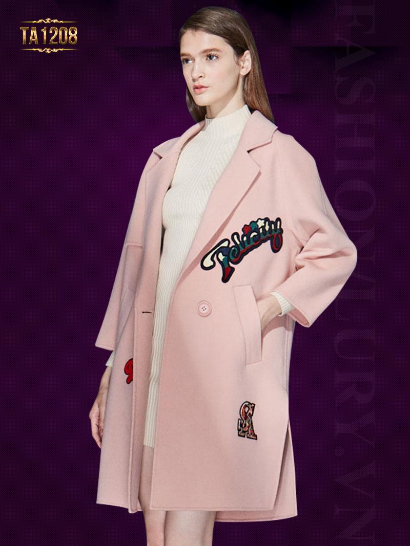 Áo khoác dạ hồng oversize đính khuy thời trang TA1208