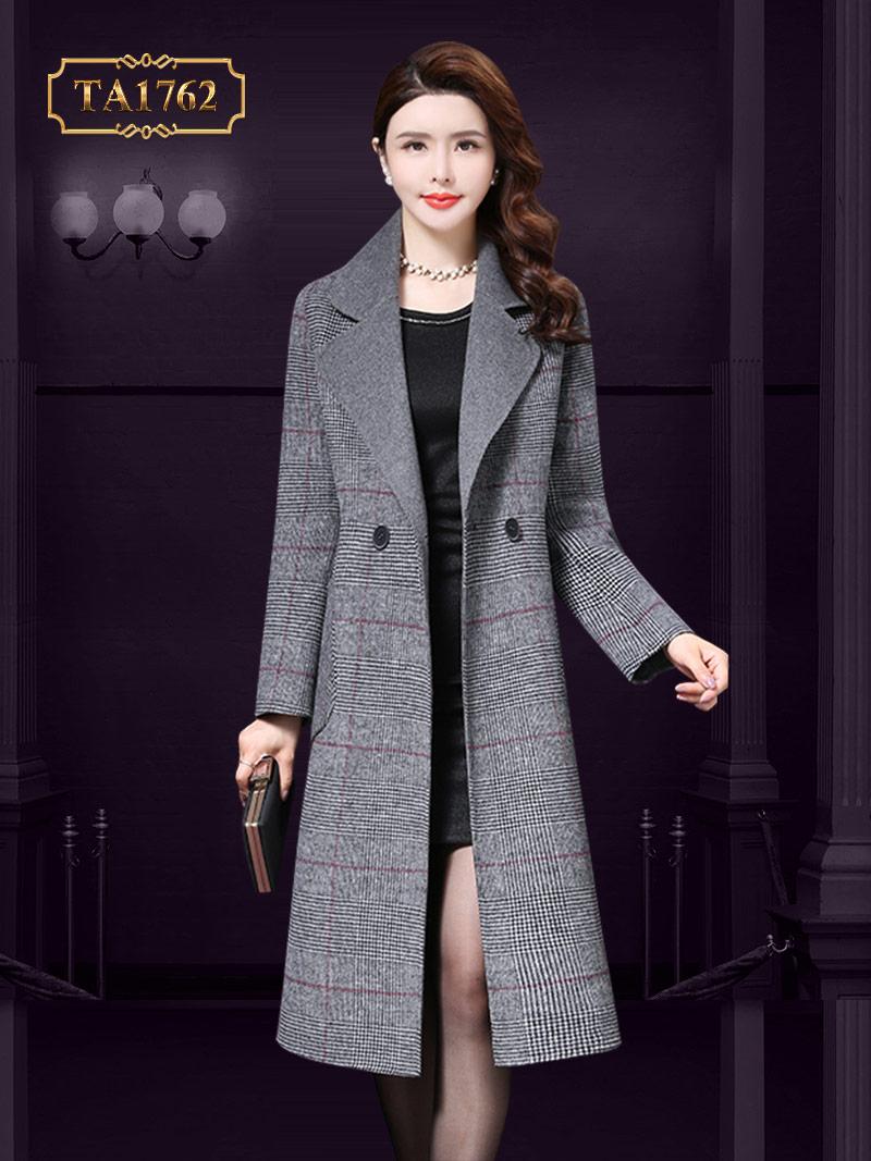 Áo khoác dạ hàng hiệu cao cấp  TA1762  kẻ ghi thời trang mẫu mới nhất