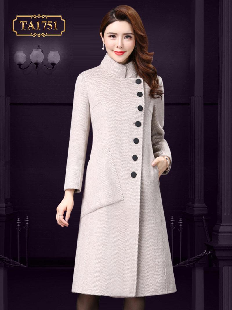 Áo dạ nữ dáng dài TA1751 cao cấp thiết kế khuy lệch thời trang mới nhất 2019 (Màu kem)
