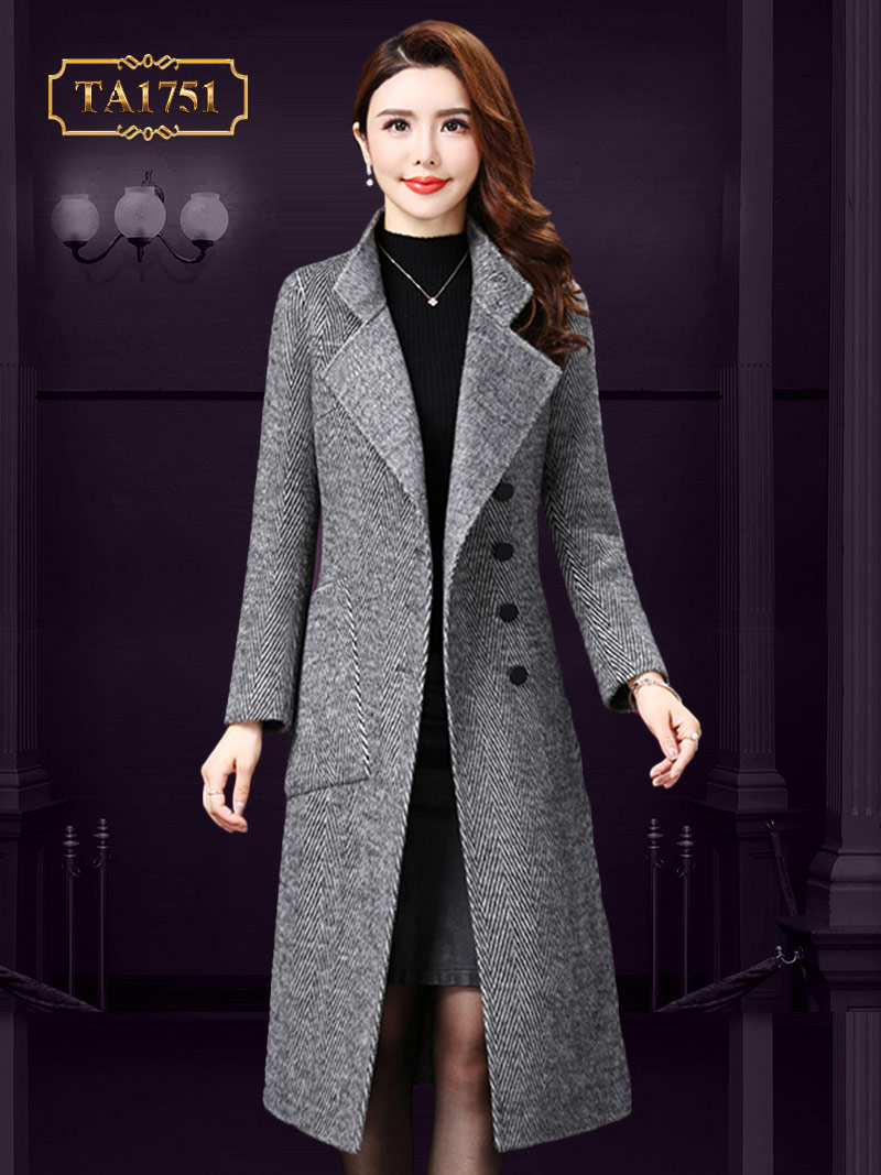Áo khoác dạ dáng dài  cao cấp khuy lệch thời trang mới nhất 2019 TA1751 (Màu xám)