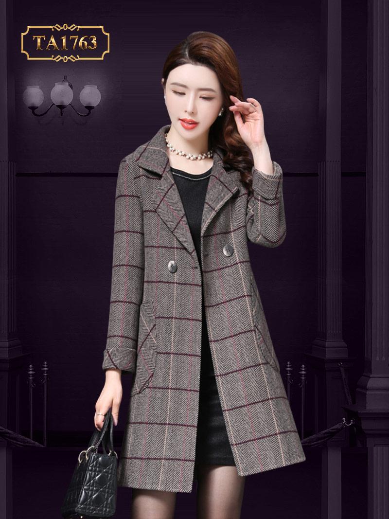 Áo khoác dạ len lông cừu TA1763 cao cấp sọc kẻ thời trang mới nhất 2019