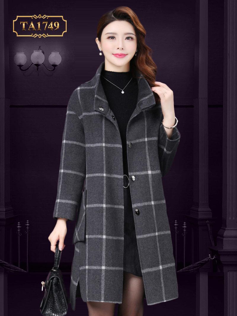 Áo khoác dạ nữ vạt xẻ high-low thời thượng mẫu mới 2019 TA1749