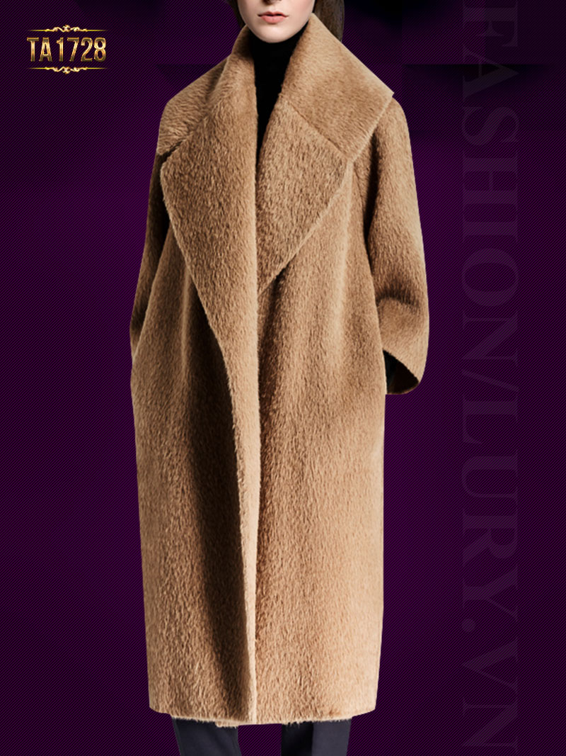 Áo khoác dạ lông cừu TA1728 dáng dài cổ ve lật (Màu nâu)