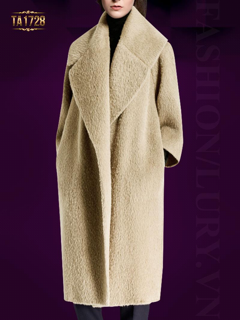 Áo khoác dạ lông cừu TA1728 dáng dài cổ ve lật 2017 (Màu nude)