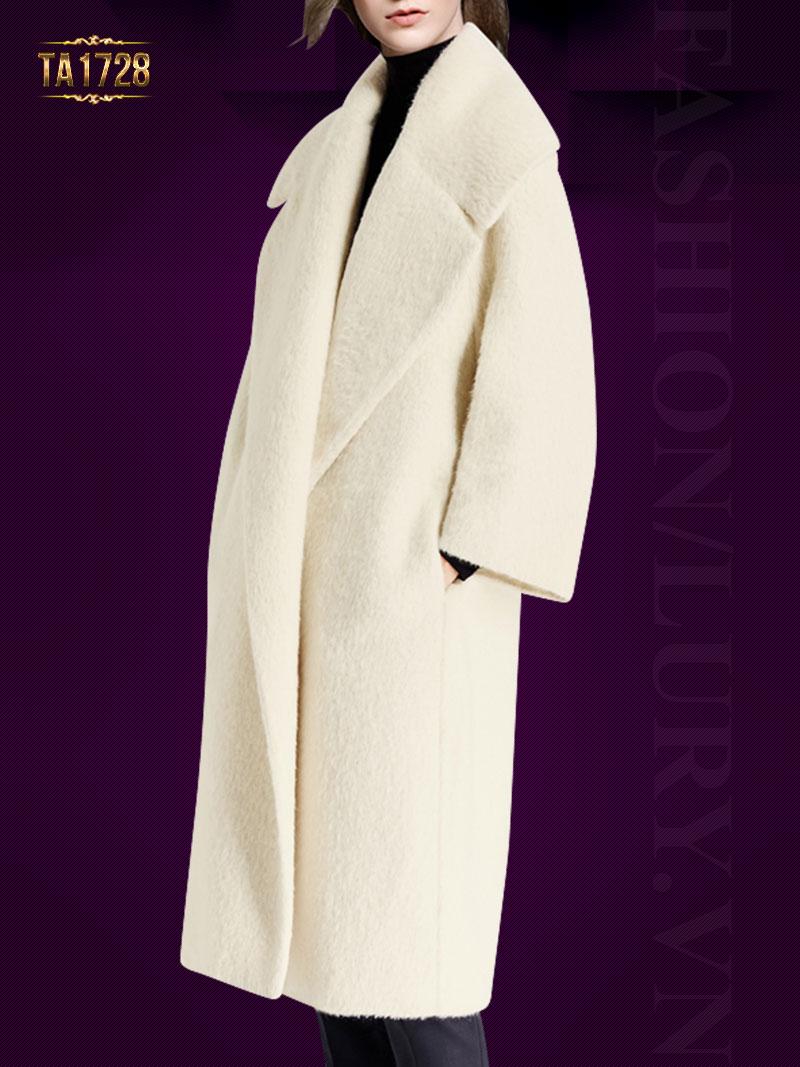 Áo khoác dạ lông cừu TA1728 dáng dài cổ ve lật (Trắng kem)