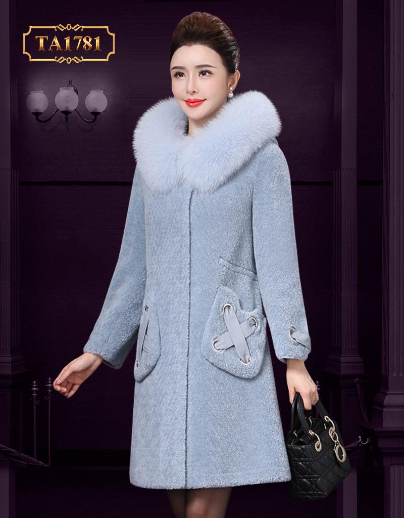 Áo khoác dạ hàng hiệu TA1781 thiết kế cổ lông tự nhiên mới 2019