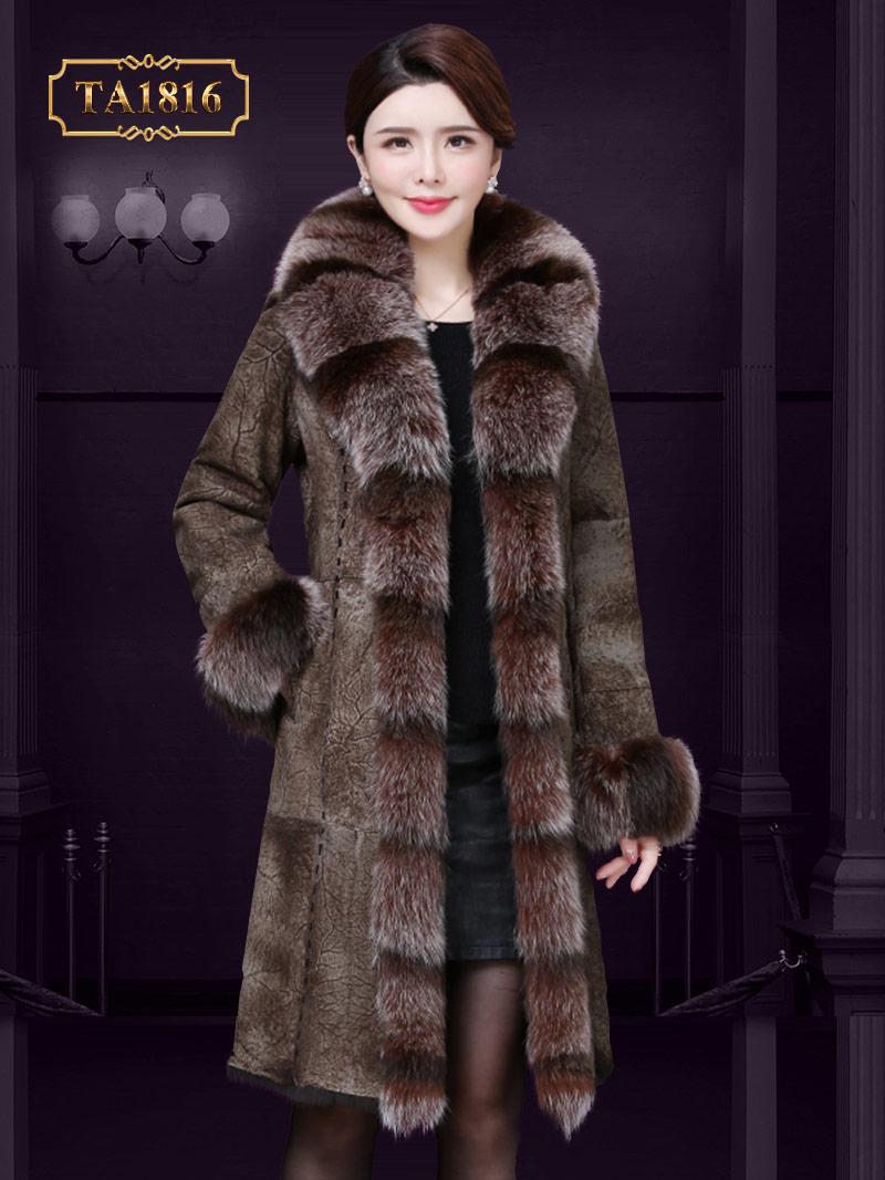 [New 2020] Áo khoác da nâu cổ lông tự nhiên dáng dài sang trọng TA1816