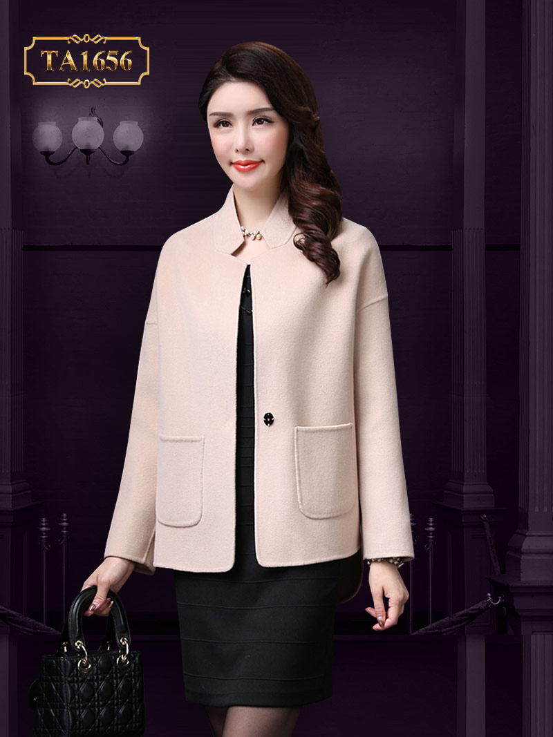 Cách thiết kế áo dạ dáng ngắn cổ trụ thấp cao cấp theo phong cách Hàn Quốc TA1656