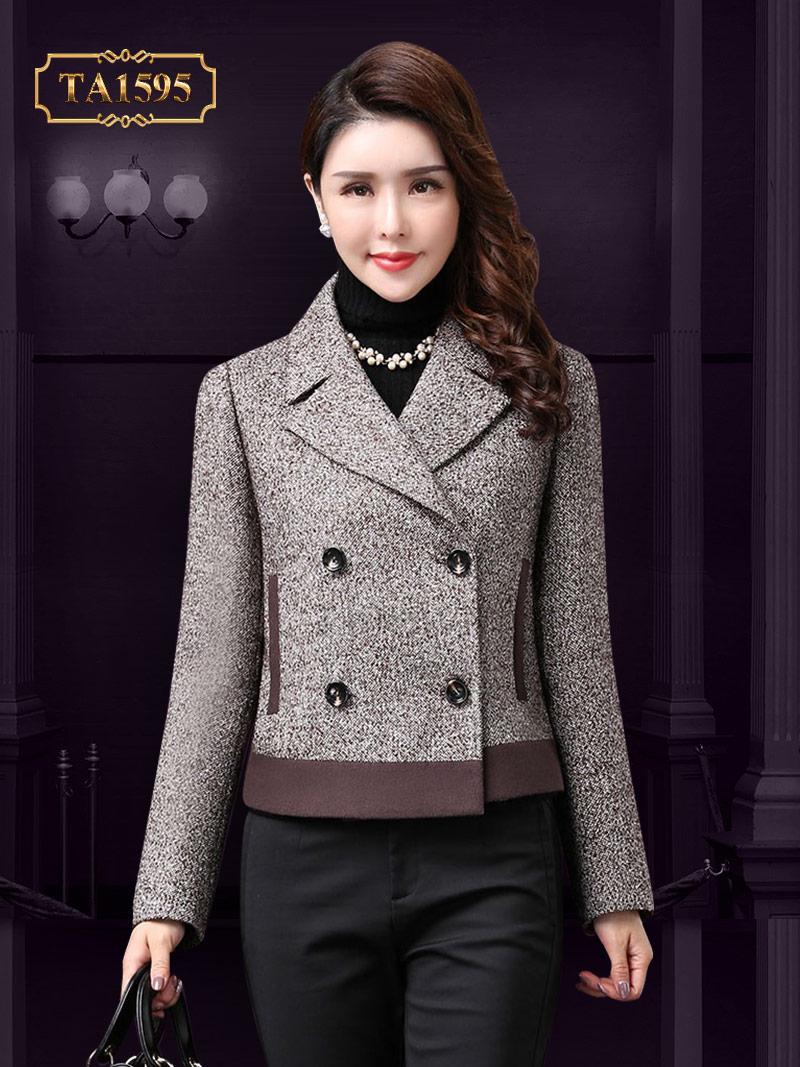 Áo dạ trung niên dáng ngắn phối màu độc đáo kiểu cổ vest thời thượng TA1595