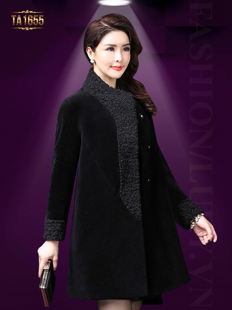 Áo khoác dạ TA1655 mới 2017 chất nhung kiểu chữ A (Màu đen)
