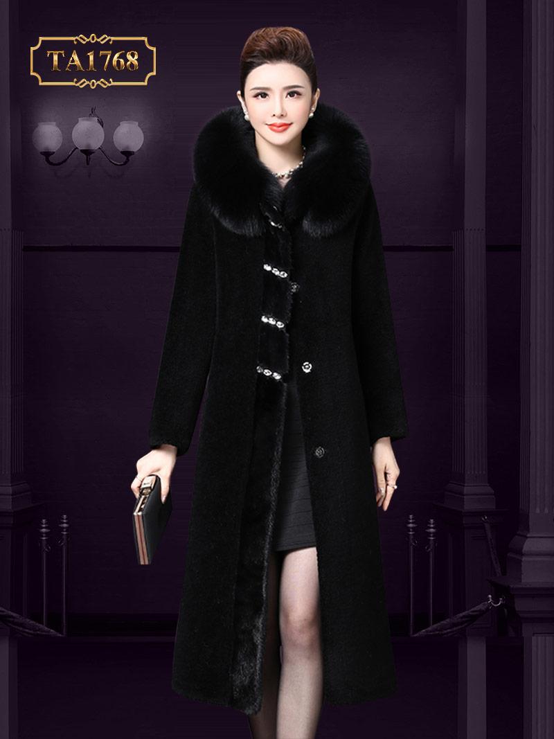 Áo khoác dạ nhung TA1768 mũ lông đính đá cao cấp mẫu mới 2019 (Màu đen)