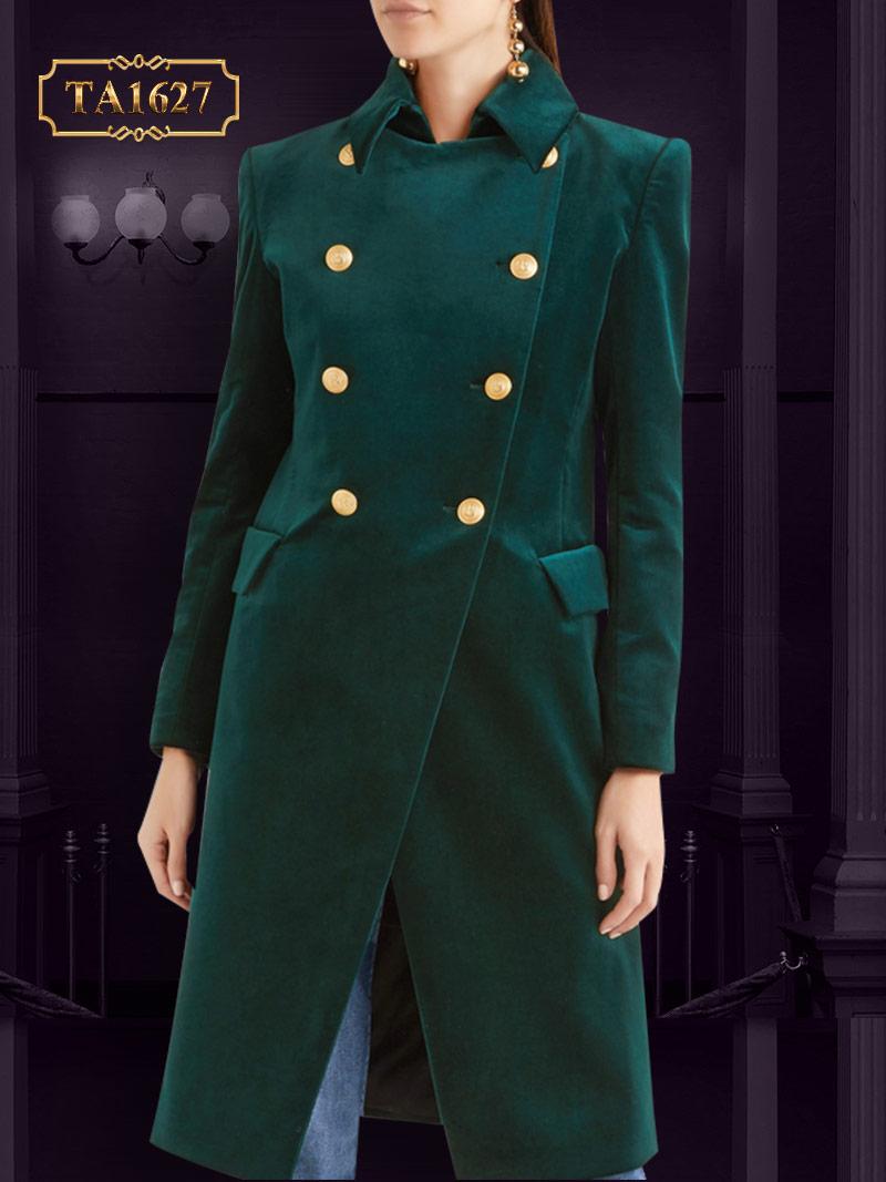 Áo khoác dạ nhung xanh mới  2017 cổ vest tay 5 cúc sang trọng thời thượng TA1627