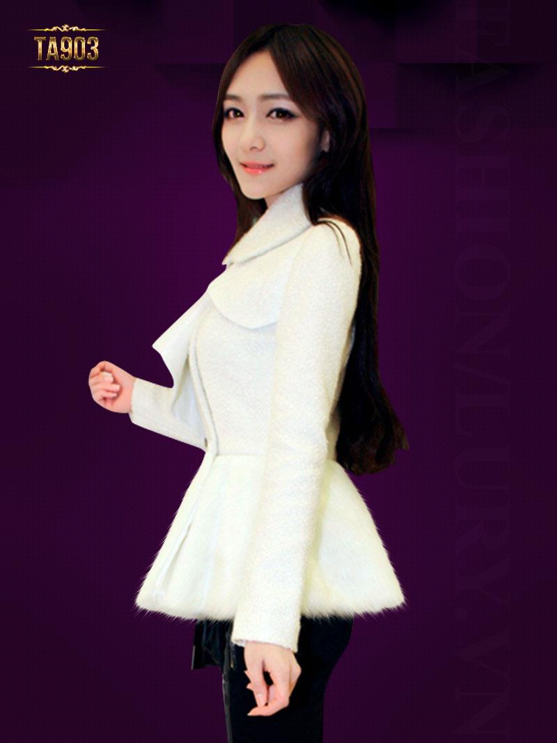 Áo khoác dạ nữ đẹp thân áo phối lông cách điệu TA903