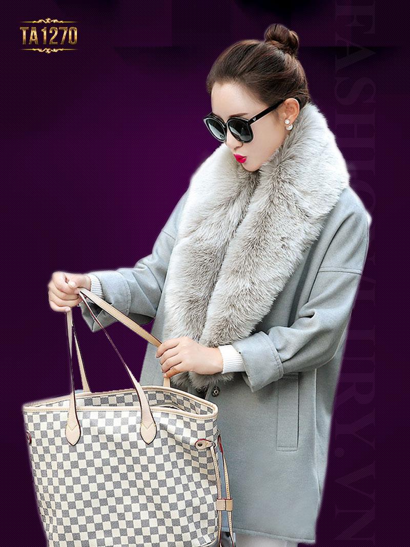 Áo khoác dạ oversize 2 túi phối viền lông cao cấp TA1270 (Màu ghi)